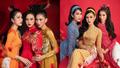 Hoa hậu Đỗ Thị Hà cùng Á hậu Phương Anh, Ngọc Thảo diện áo dài retro