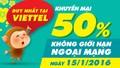 Nạp thẻ Viettel, nhận ngay khuyến mại 50%