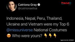 Khánh Vân lọt top 6 trang phục dân tộc yêu thích của Miss Universe 2018 Catriona Gray