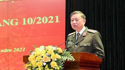 Bộ trưởng Tô Lâm phát biểu chỉ đạo tại hội nghị. Ảnh: congan.com.vn