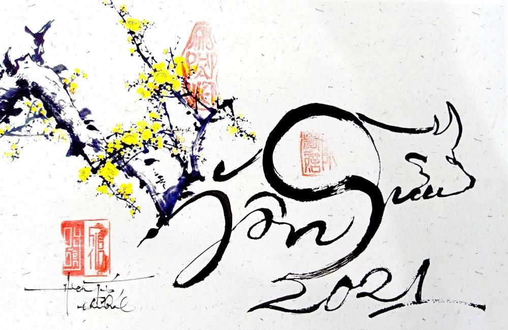 """Bức họa tự """"Trâu Mừng Xuân"""" của thạc sĩ Nguyễn Hiếu Tín."""