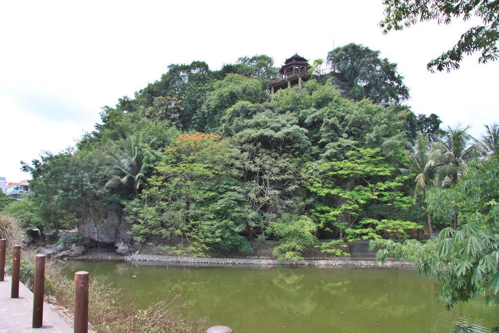 Toàn cảnh núi và chùa Kỳ Lân như một hòn đảo ngọc xanh mướt giữa lòng thành phố Ninh Bình.