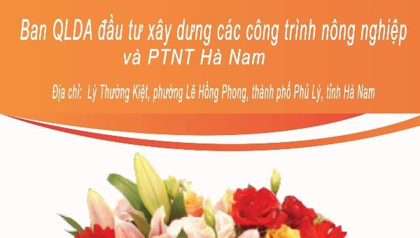Ban QLDA đầu tư xây dựng các công trình NN&PTNT Hà Nam