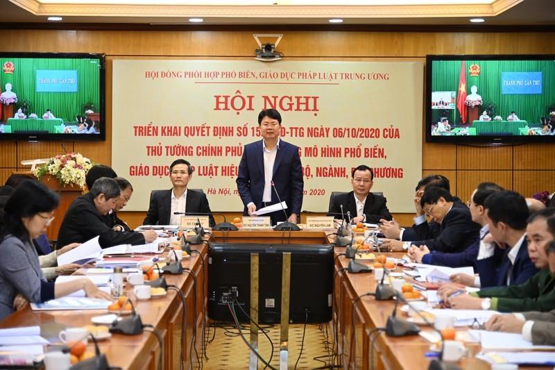 Thứ trưởng Bộ Tư pháp Nguyễn Thanh Tịnh tại Hội nghị trực tuyến triển khai Quyết định 1521/QĐ-TTg ngày 6/10/2020 của Thủ tướng Chính phủ do Hội đồng phối hợp PBGDPL Trung ương tổ chức.