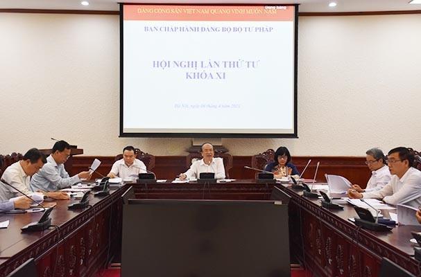 Hội nghị lần thứ IV BCH Đảng bộ Bộ Tư pháp Khóa XI và Ban Thường vụ Đảng ủy tháng 3/2021