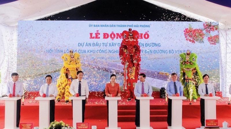 Hải Phòng động thổ Dự án đầu tư xây dựng tuyến đường nối tỉnh lộ 354 qua khu công nghiệp Kiến Thụy đến đường bộ ven biển
