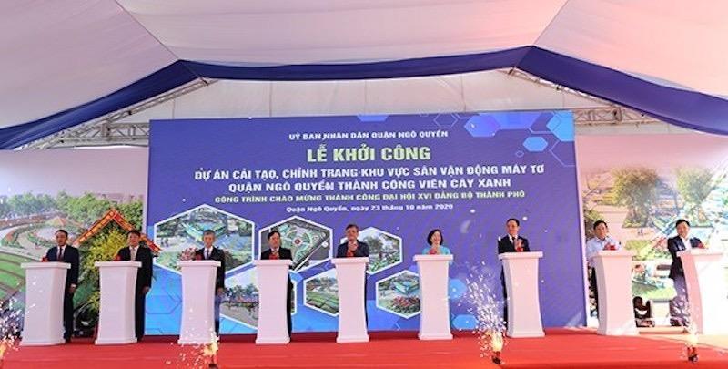 Khởi công Dự án cải tạo, chỉnh trang khu vực Sân vận động Máy Tơ quận Ngô Quyền