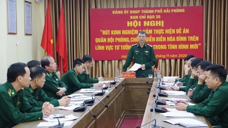Trưởng Ban Chỉ đạo 35 Đảng ủy Bộ đội biên phòng Phạm Hồng Phong kết luận tại Hội nghị.