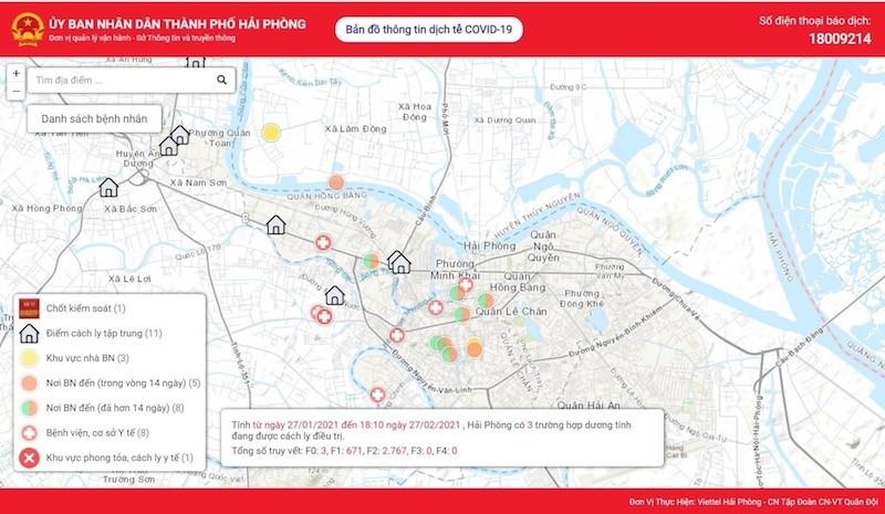 Hải Phòng đưa vào sử dụng bản đồ thông tin dịch tễ Covid-19
