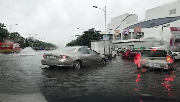 Mưa gió ào ào kéo đổ cây, nhiều đoạn phố Hà Nội bắt đầu ngập