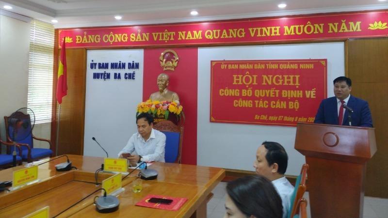 Ông Đỗ Khánh Tùng, tân Chủ tịch UBND huyện Ba Chẽ, phát biểu. Ảnh Quang Hà.