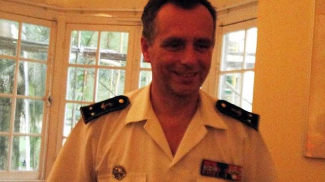 Chuẩn đô đốc Pascal Ausseur tại buổi gặp gỡ báo chí ở Hà Nội. Ảnh : Việt Hùng.