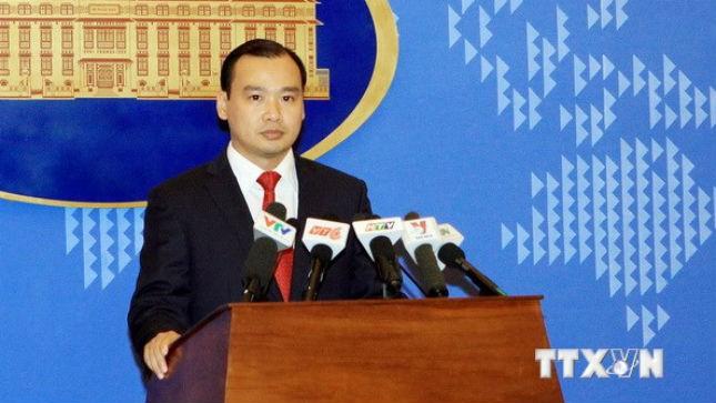 Ông Lê Hải Bình, Người phát ngôn Bộ Ngoại giao phát biểu tại buổi họp báo. (Ảnh: Nguyễn Dân/TTXVN)