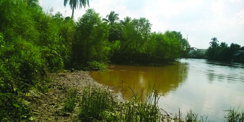 Khúc sông nơi tìm thấy bà Mai cách nhà gần 10km.
