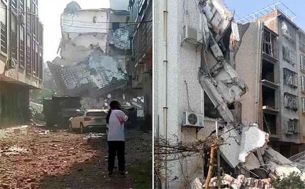 Ảnh các tòa nhà bị sập được chia sẻ trên mạng Weibo. Ảnh: Weibo