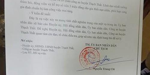 Thảm án ở Thạch Thất: Chính quyền tổ chức thăm hỏi gia đình nạn nhân