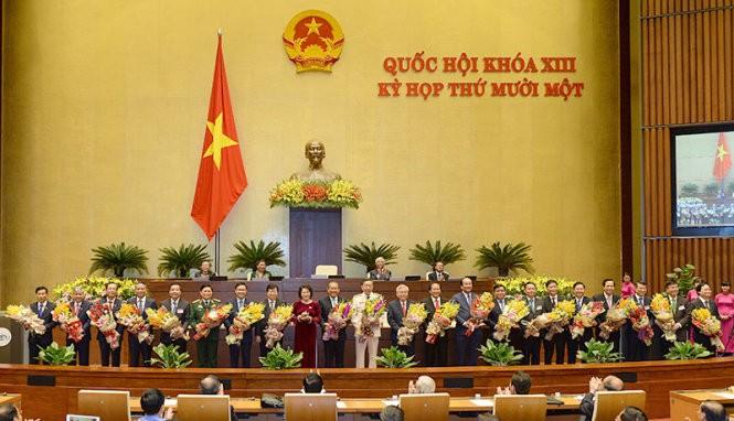 Chủ tịch Quốc hội Nguyễn Thị Kim Ngân cùng các thành viên  của Chính phủ  nhiệm kỳ 2011 - 2016