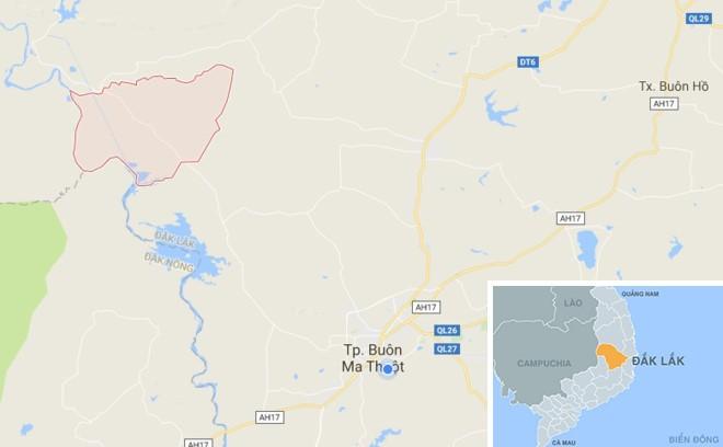 Xã Ea Wer (khoanh tròn) nơi xảy ra sự việc. Ảnh: Google Maps.