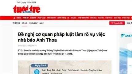 Nghi án quấy rối tình dục cộng tác viên, nhà báo Anh Thoa xin từ chức