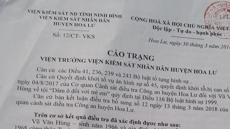 Nghi can hãm hại bé gái ở Ninh Bình bị nhiễm HIV giai đoạn cuối