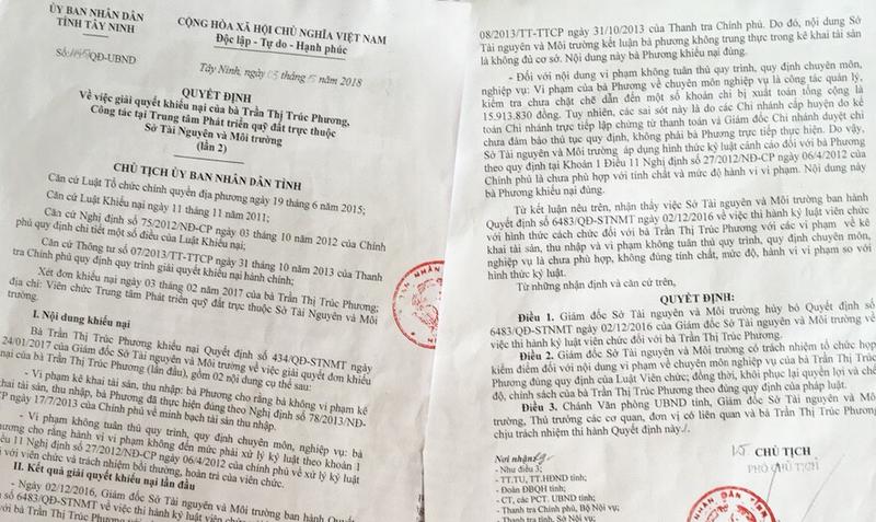 Quyết định của Chủ tịch Uỷ ban nhân dân tỉnh Tây Ninh giải oan cho bà Phương