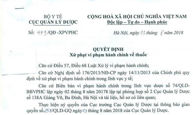 Tước giấy chứng nhận đủ điều kiện kinh doanh thuốc của Công ty Phương Trinh