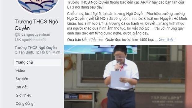 Bộ GD&ĐT yêu cầu báo cáo vụ nam sinh bị kỷ luật vì xúc phạm nhóm BTS