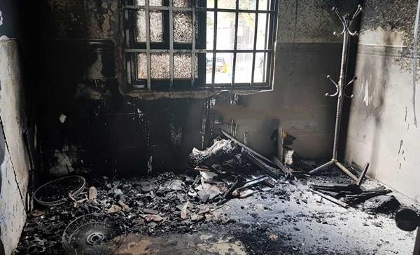 Hiện trường vụ tưới xăng đốt