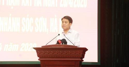Chủ tịch Uỷ ban nhân dân thành phố Hà Nội Nguyễn Đức Chung phát biểu tại buổi họp báo.