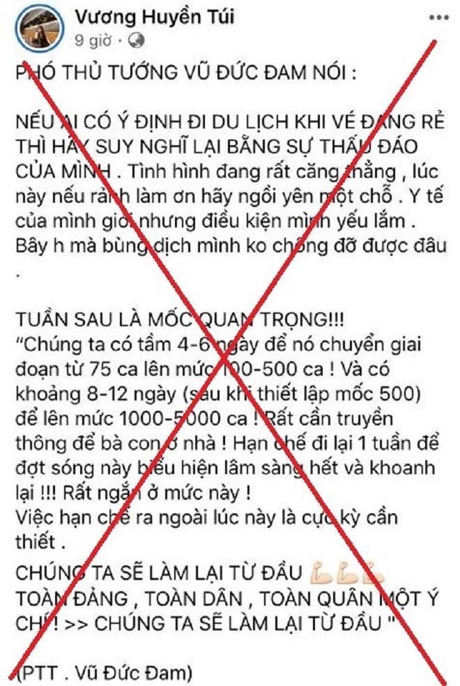 Đăng bịa đặt phát ngôn của PTT Vũ Đức Đam, facebooker bị phạt 7,5 triệu đồng - 1