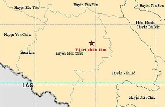 Vị trí trận động đất mạnh 4 độ lúc 8h26 sáng 28/7. Ảnh: Viện Vật lý địa cầu.