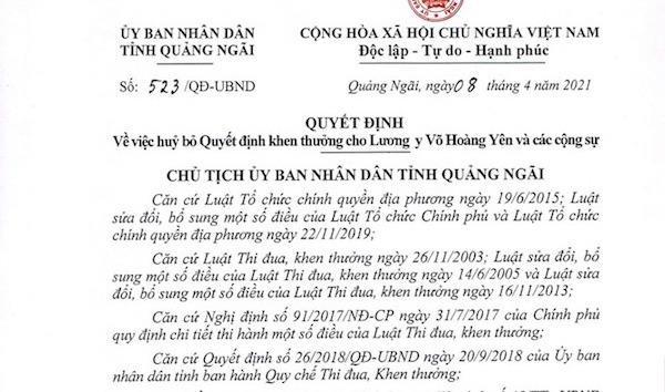 Quảng Ngãi rút lại quyết định khen thưởng 'thần y' Võ Hoàng Yên