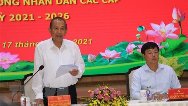 Phó Thủ tướng Thường trực Chính phủ Trương Hòa Bình - Phó Chủ tịch Hội đồng bầu cử quốc gia  -làm việc tại Đồng Tháp.