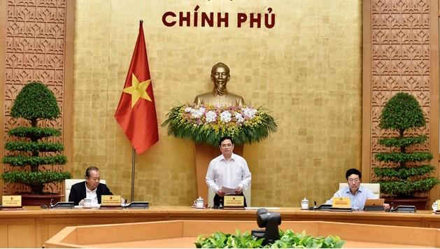 Thủ tướng Phạm Minh Chính chủ trì phiên họp Chính phủ sau kiện toàn nhân sự. Ảnh: N.Bắc