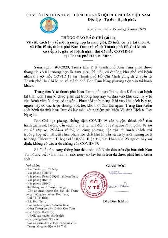 Thông báo của Sở Y tế tỉnh Kon Tum liên quan đến trường hợp vừa bị cách ly.
