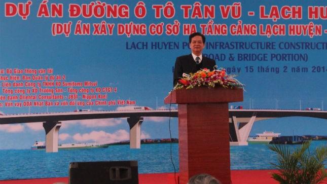 Thủ tướng Nguyễn Tấn Dũng phát lệnh khởi công xây dựng dự án cầu, đường Tân Vũ- Lạch Huyện