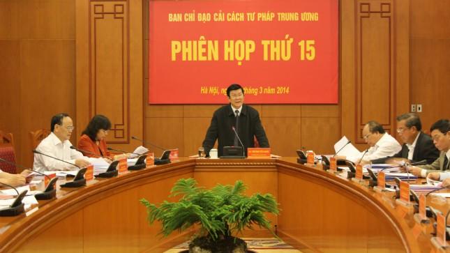 Chủ tịch nước, Trưởng ban Chỉ đạo cải cách tư pháp Trung ương Trương Tấn Sang: Vấn đề thành lập TAND sơ thẩm và VKSND khu vực đã được thống nhất