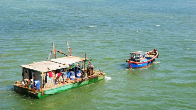 Đội xà lan neo đậu cách cầu Thị Nại khoảng 300-400m về hướng Nam để khai thác cát