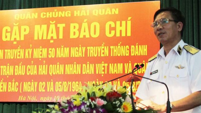 Chuẩn Đô đốc Nguyễn Ngọc Tương cho biết Quân chủng Hải quan đang triển khai nhiều hoạt động kỷ niệm 50 năm Ngày truyền thống đánh thắng trận đầu
