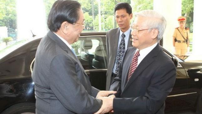 Tổng Bí thư Nguyễn Phú Trọng đón tiếp Tổng Bí thư, Chủ tịch nước Lào Chummaly Sayasone. Ảnh: TTXVN