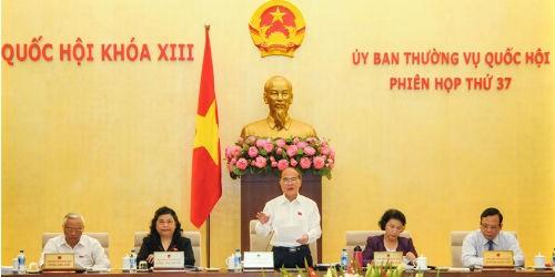 Chủ tịch Quốc hội Nguyễn Sinh Hùng phát biểu khai mạc Phiên họp thứ 37, Ủy ban Thường vụ Quốc hội khóa XIII sáng 6/4