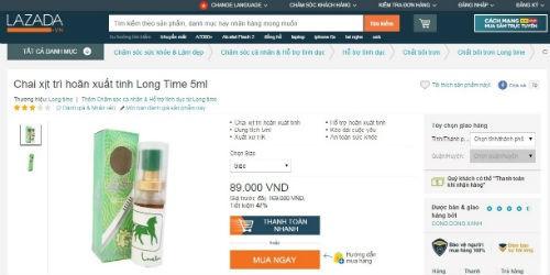 Sản phẩm chai xịt trì hoãn xuất tinh Long Time 5ml được bán trên trang thương mại điện tử LAZADA.vn