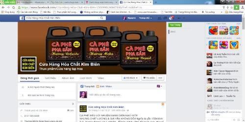 Facebook có tên Cửa hàng hóa chất Kim Biên ngang nhiên công khai bán cà phê bẩn