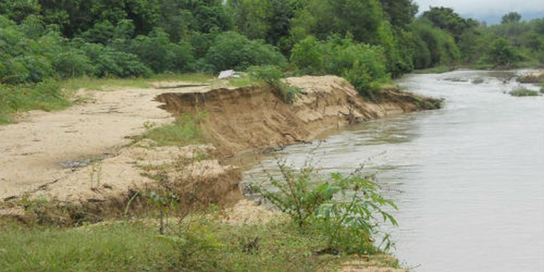 Một số đoạn thuộc bờ Đông sông La Tinh bị sạt lở nặng