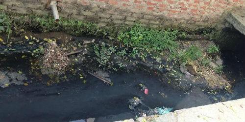 Nước thải đen ngòm và bốc mùi được người dân đổ trực tiếp ra môi trường