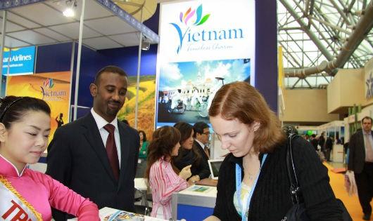 Một gian hàng tại Hội chợ du lịch quốc tế