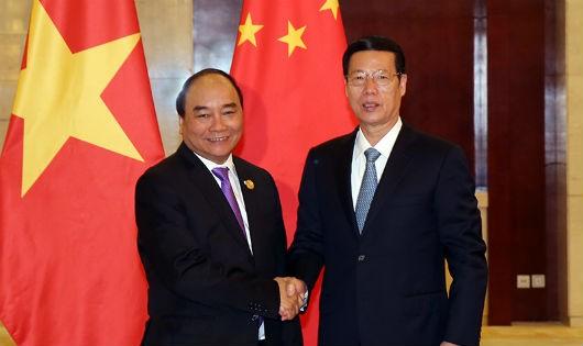 Thủ tướng Chính phủ Nguyễn Xuân Phúc và Phó Thủ tướng Quốc vụ viện nước CHND Trung Hoa Trương Cao Lệ