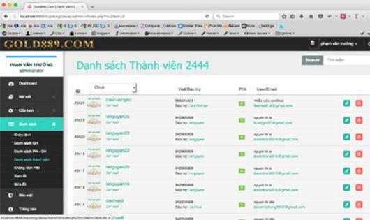 Bắt khẩn cấp kẻ điều hành website gold889.com
