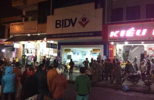 Chi nhánh ngân hàng BIDV bị cướp. Ảnh: TTXVN