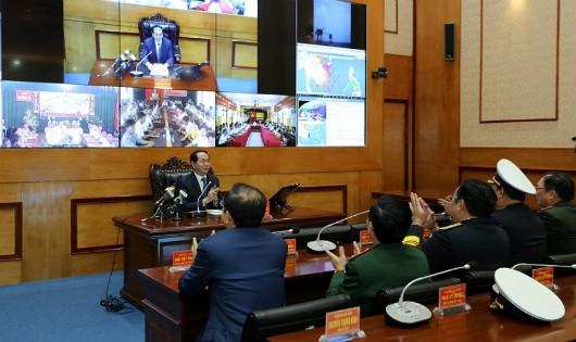 Chủ tịch nước chúc Tết quân dân Trường Sa, Nhà giàn DK1 và các tàu Hải quân trực trên biển qua hệ thống truyền hình trực tuyến